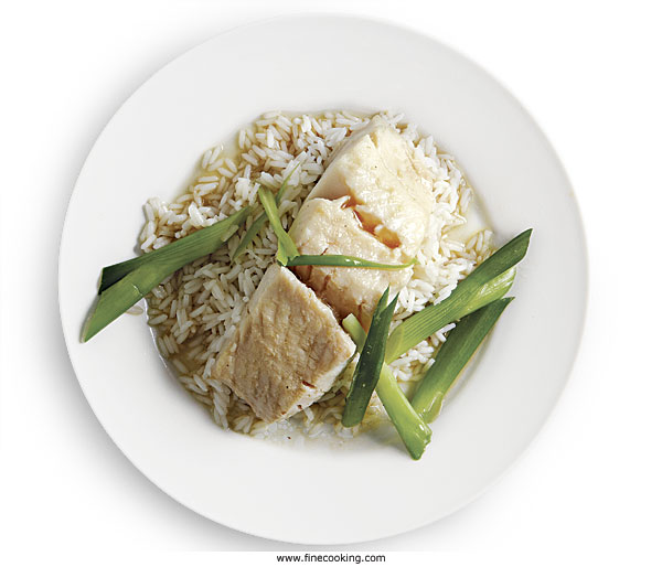 Steamed Black Cod with Scallions and Rice Wine
