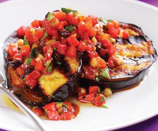 Grilled Eggplant with Roasted Red Pepper Relish Recipe