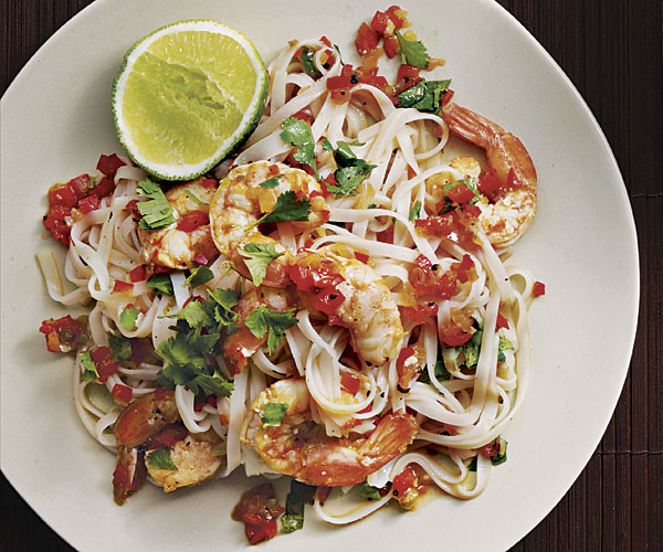 Rice Noodles with Shrimp and Cilantro