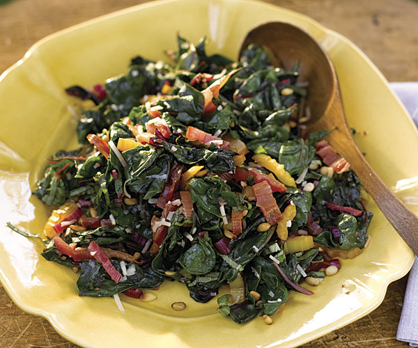 Rainbow Chard With Pine Nuts Parmesan And Basil Recipe Finecooking
