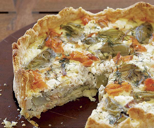 Smoked Salmon, Goat Cheese & Artichoke Quiche