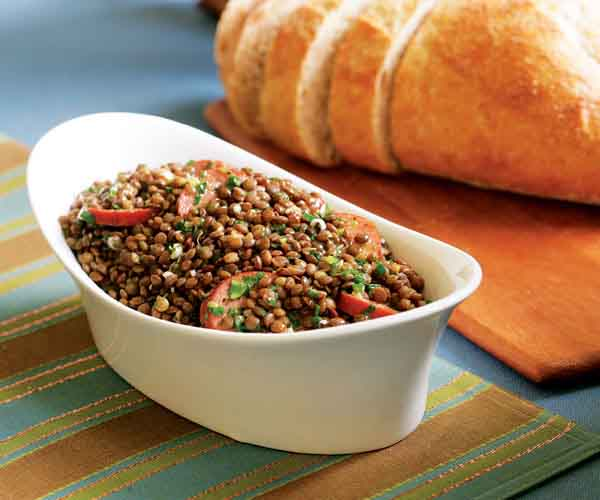 Warm   French Lentil Salad with Smoked Sausage