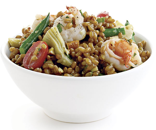 Provencal Wheat Berry Salad with Shrimp and Mustard-Caper Vinaigrette