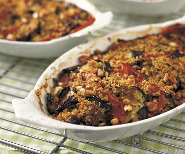 Eggplant and Tomato Gratin with Mint, Feta & Kalamata Olives