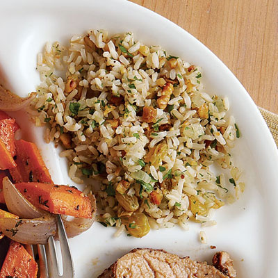 Brown Rice with Walnuts and Golden Raisins