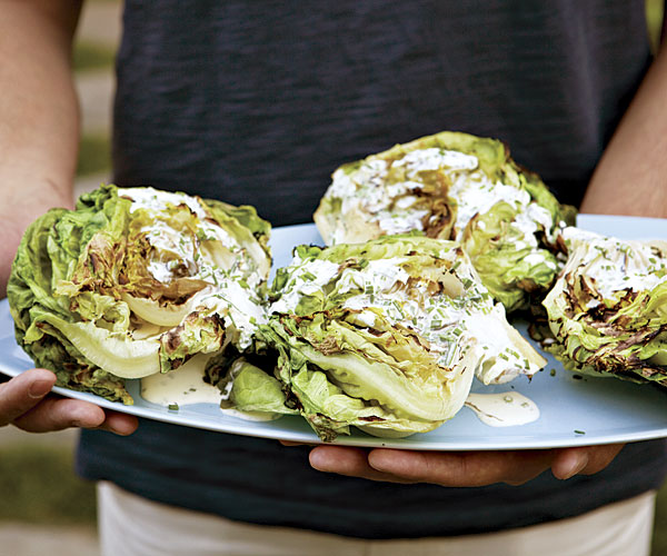 Grilled Butter Lettuce with Buttermilk-Chive   Dressing