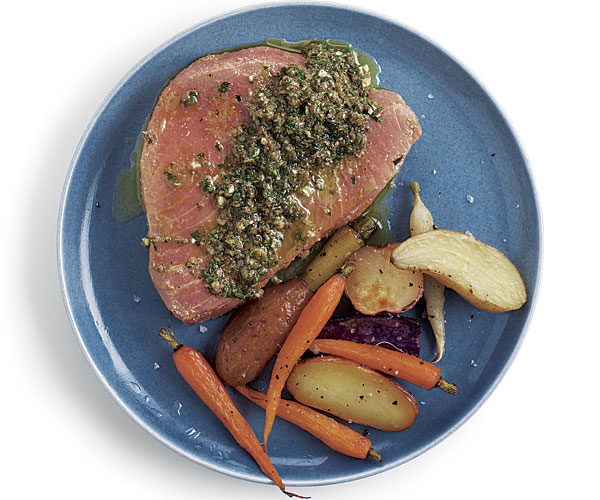 Olive Oil Poached Tuna with Caper and Olive Vinaigrette