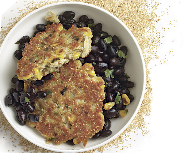 Corn and Amaranth Griddlecakes with Spicy Black Beans