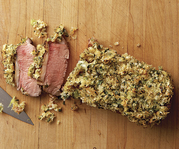 Roasted Lamb Loins with Mustard-Herb Crust