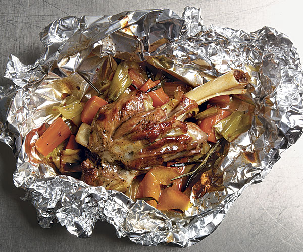 Lamb Shanks en Papillote with Leeks, Carrots, Rosemary, and Orange