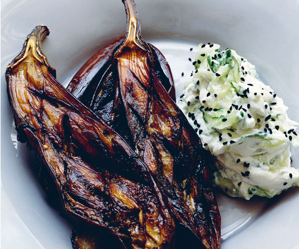 Baked Finger Eggplants with Yogurt and Cucumber