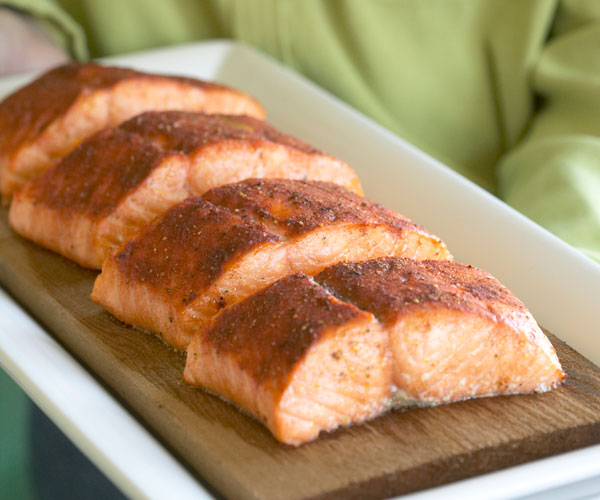 Cedar-Planked Salmon with Red Pepper & Caper Sauce