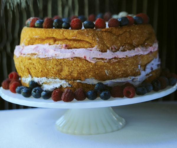 Red, White, and Blue Angle Food Cake