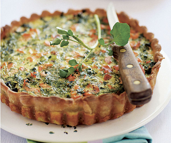 Salmon and Watercress Quiche recipe
