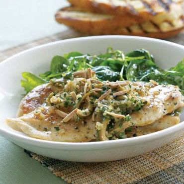 Sautéed Chicken with Sherry & Olive Pan Sauce & Toasted Almonds