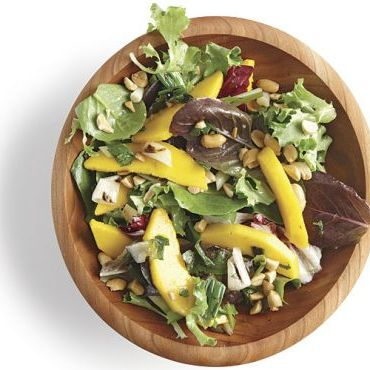 Mixed Green Salad with Grilled Scallions, Mango, and Cilantro-Lime Vinaigrette