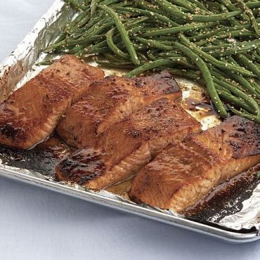 Five-Spice-Glazed Salmon with Sesame Green Beans