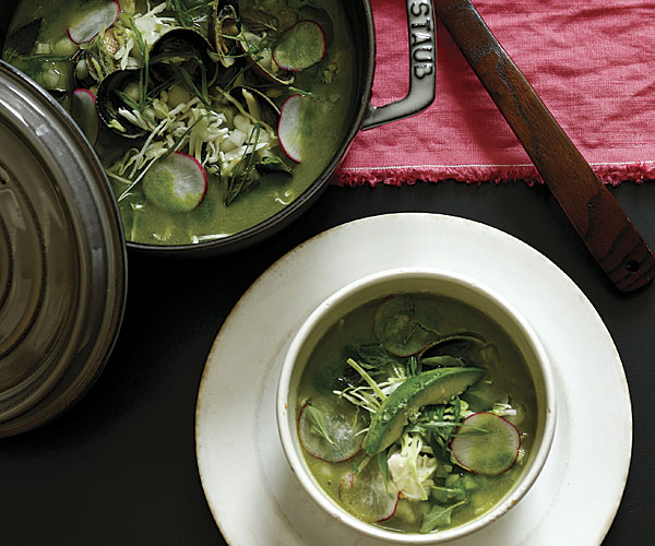 Green Hominy Soup with Crab