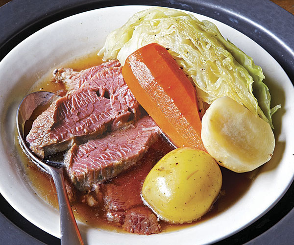 Irish Corned Beef and Vegetables with Dill Pickle-Horseradish Cream and Guinness-Mustard Sauce