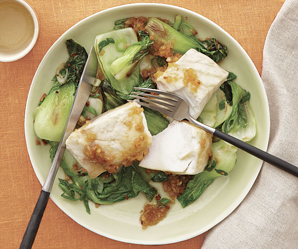 Poached Striped Bass with Bok Choy and Broken Ginger Dressing