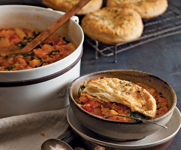 Butternut Squash and Swiss Chard Stew Topped with Puff Pastry