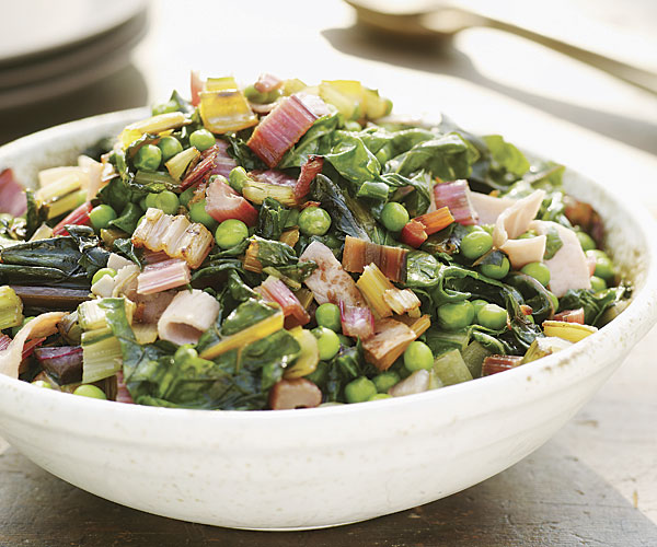 Swiss Chard and Fresh Peas with Ham and Maple–Balsamic Sauce