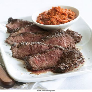 Grilled Skirt Steak with Quick Romesco Sauce