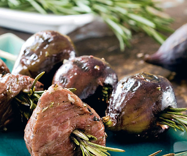 Grilled Lamb and Figs on Rosemary Skewers