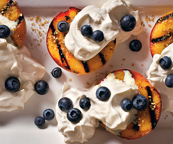 Grilled Peaches with Dukkah and Blueberries